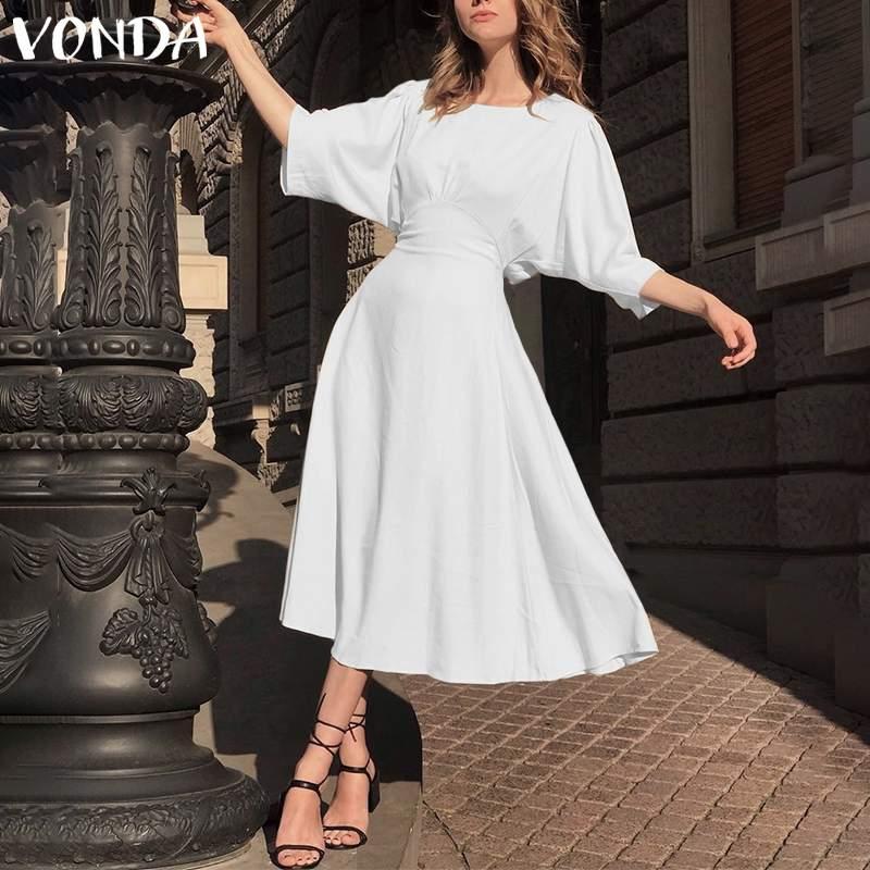 VONDA Office Lady Long Dress 2020  Summer Sundress Women Bohemian Casual Loose Robe Vintage Half Sleeve Dress Plus Size Vestido