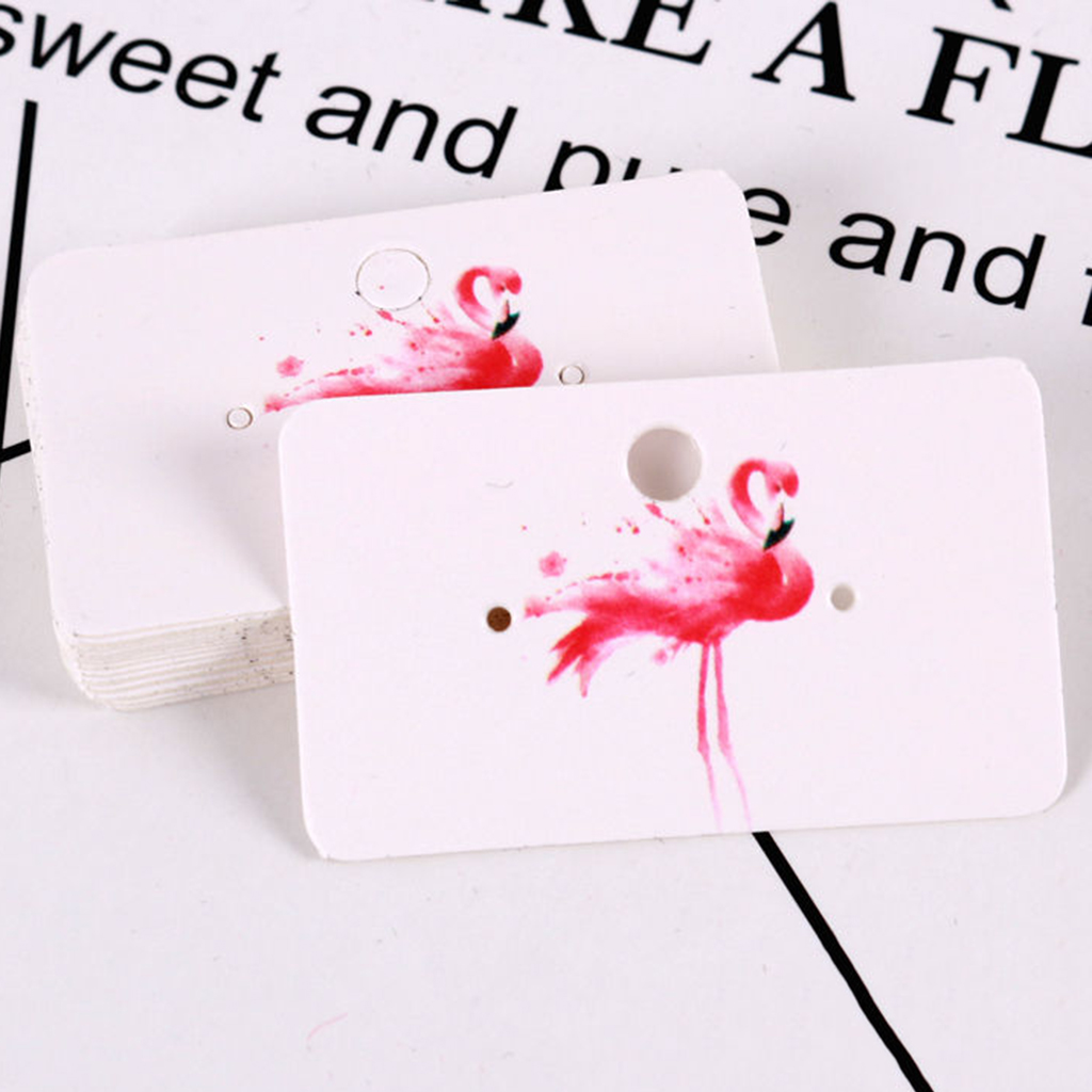 100x Jewelry Earring Ear Studs Hanging Display Holder Hang Cards 5.0x3.0cm