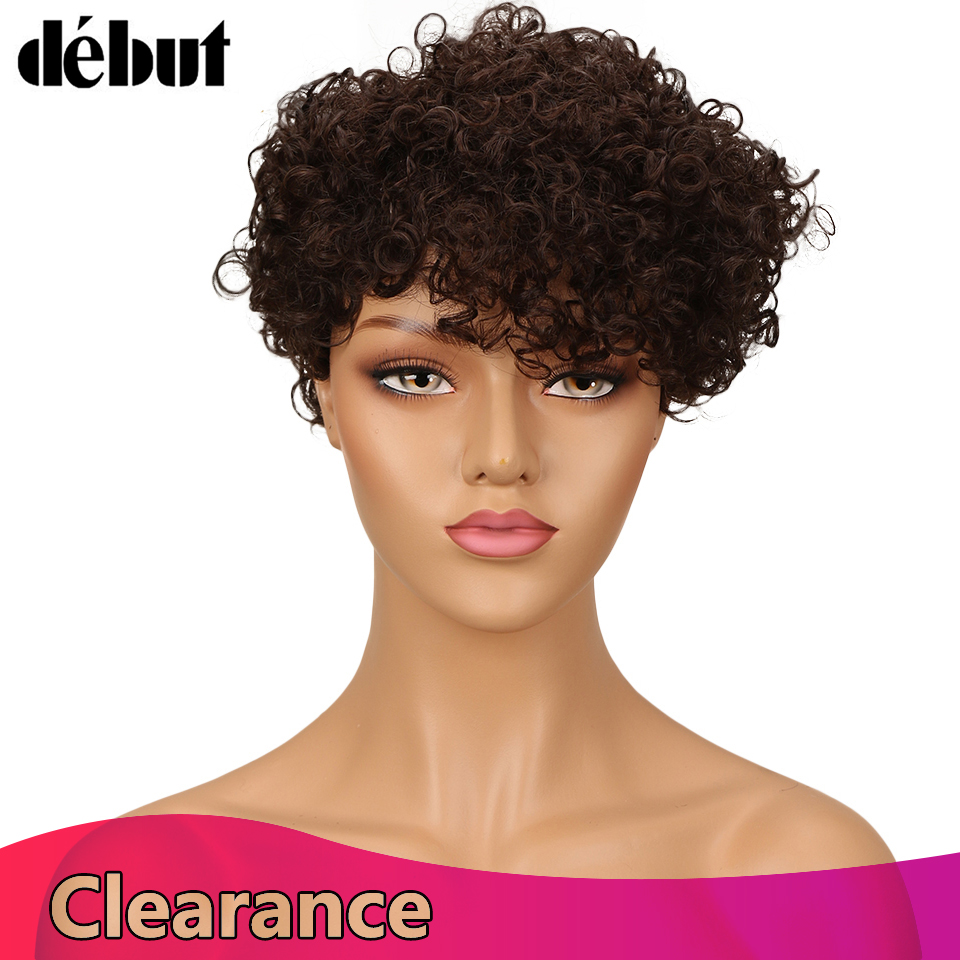 Debut Fashion Curly Wave Human Hair Wigs For Women Brazilian Reny Hair Wig Ladies Curly Pixie Short Hair Wigs Natural Wholesales