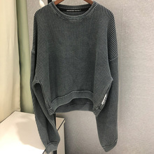 2019 Autumn Sweater New Shoulder Fall Knitted Top Fashion Vintage Joker Crewneck Grey Pullovers Clothes Women