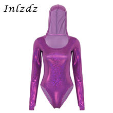 Mujeres brillante Pole Dance Rave Bodysuit holograma metálico cuello redondo manga larga con capucha Bodysuit mameluco Dance Party Rave ropa(China)
