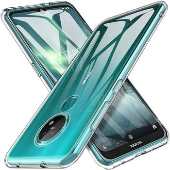 Перейти на Алиэкспресс и купить Чехол для Nokia 7,2 6,2 TPU силиконовый прозрачный облегающий Бампер Мягкий чехол для Nokia 7,2 6,2 Прозрачный задний Чехол