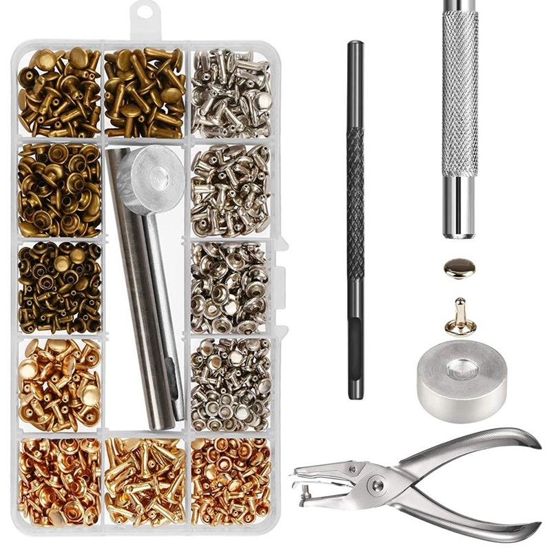 300 Sets Leather Rivets Double Cap Rivet Tubular Metal Studs With Punch Pliers Fixing Set Tools For DIY Leather Craft Rivets Rep