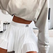 Saia curta mulher cintura elástica mini saias sexy mircro verão bordado mini saia de tênis novo acessório preppy plissado branco