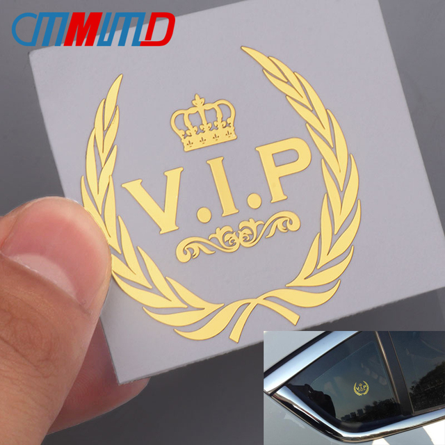 3D Metal Car-Styling VIP Crown Emblem Stickers For Window Decals for Phone Auto Products Gold Honorable Ornament Accessories