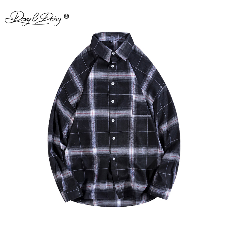 DAVYDAISY Men Spring Autumn Plaids Stripes Shirt Casual Flannel Long Sleeve Shirts Cotton Streetwear Male Brand Shirt MS007