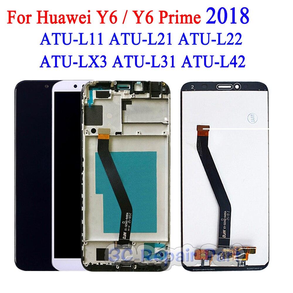 Новый ЖК дисплей для Huawei Y6 Prime 2018 ATU L11 L21 L22 LX1 LX3 L31 L42 сенсорный экран для Huawei Y6 2018 ЖК рамка в сборе Экраны для мобильных телефонов      АлиЭкспресс