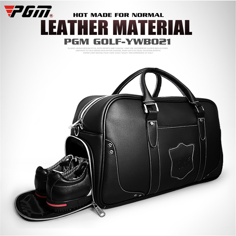 PGM Golf Bags Large Capacity Leather Golf Clothing Bags Waterproof Golf Shoes Bag Double Layer Sports Handbags Portable Bag