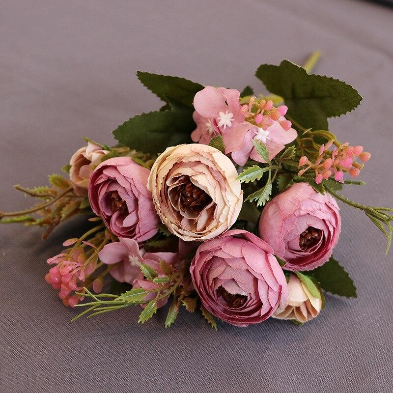Europäischen Vintage Künstliche Seide Tee Rose Blumen 6 kopf 4 Kleine knospe Bouquet Hochzeit Hause Retro Gefälschte Blume Party DIY dekoration