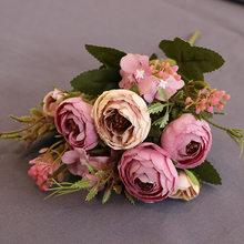 Europejski Vintage sztuczny jedwab herbata róża kwiaty 6 głowa 4 mały bukiet bud ślub dom Retro fałszywy na imprezę z kwiatami DIY dekoracji