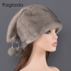 Женская меховая шапка из натуральной кожи, украшенная кулоном из меха норки, модные модели толстых теплых меховых шапок для дам