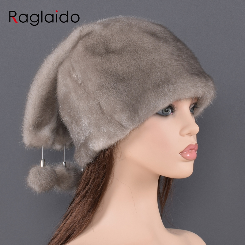 Natural fur hedging hat for women real full leather mink fur Pendant decorated new fashion models thick warm fur hats for ladys