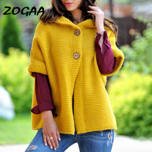 ZOGAA  Women Hooded Sweater Cardigan 2019 Autumn and Winter Solid Short Sleeve Button Knitted Coat Cloak S-XXXL