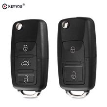 KEYYOU 2 przycisk składany kluczyk samochodowy z pilotem składane klucze Case dla volkswagena Vw Jetta Golf Passat Beetle siedzenie do skody Polo B5 tanie tanio For Volkswagen OTHER For VW CARAVELLE 2008!! For VW Polo 2012 Key