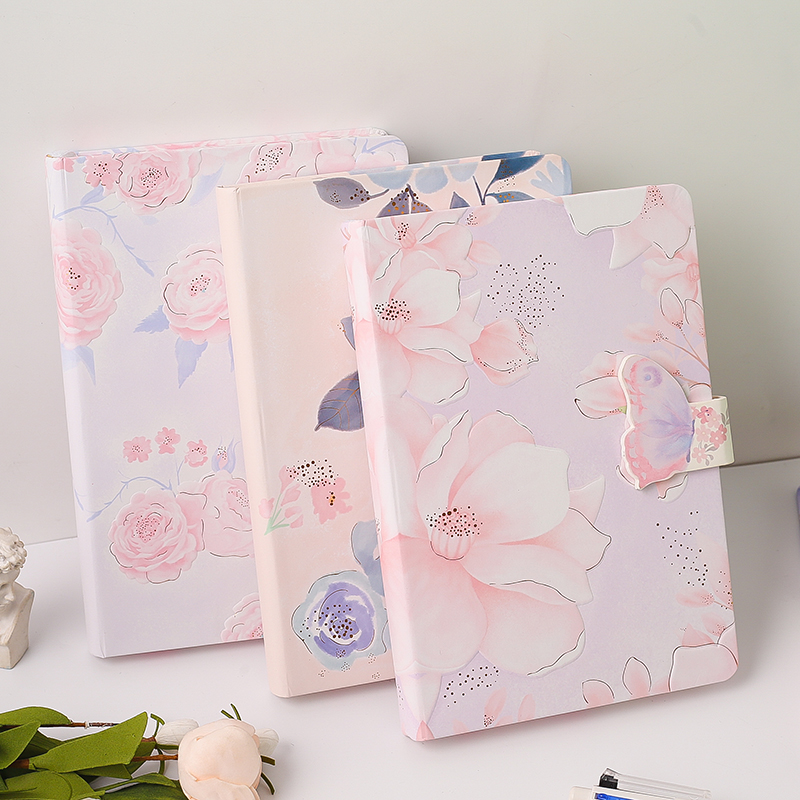 A5 Hardcover Color Flower Creative Notebook 32K Lovely Girl Writing Diary Planner Book Magnetic Buckle Colored Blank Pages