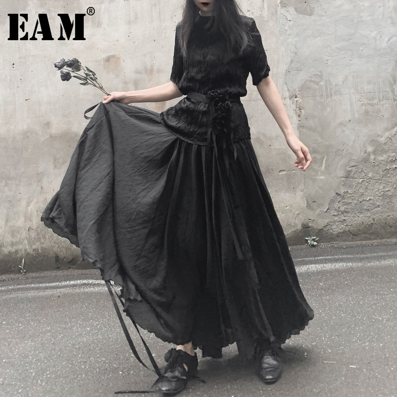 [EAM] High Elastic Waist Black  Asymmetrical Split Long Half-body Skirt Women Fashion Tide New Spring Autumn 2020 19A-a539