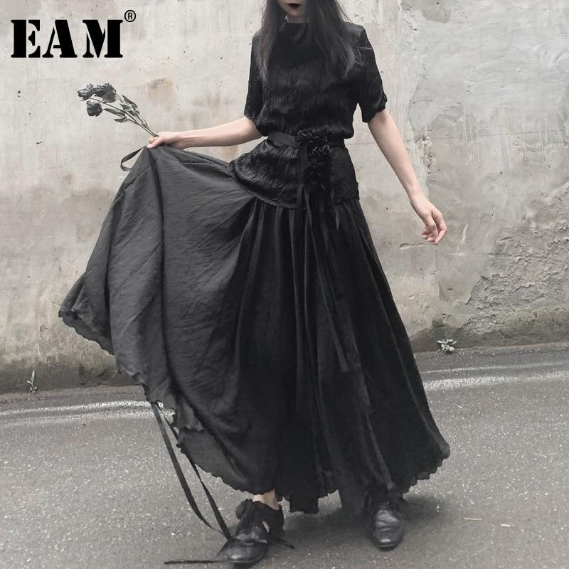 [EAM] High Elastic Waist Black  Asymmetrical Split Long Half-body Skirt Women Fashion Tide New Spring Autumn 2020 19A-a539