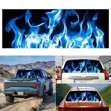 2019 moda z najwyższej półki spalanie niebieski płomień totem samochód tylne naklejki na okna ciężarówka SUV skóra cartoon modele hurtownie szybka dostawa CSV