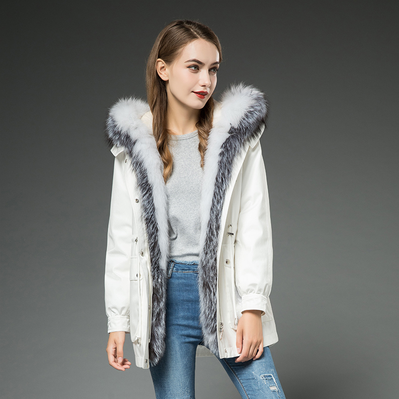 Parka 2020 Real Fur Coat Winter Coat Women Rabbit Fur Liner Warm Oversized Jacket Women Fox Fur Collar Korean Jackets MY S