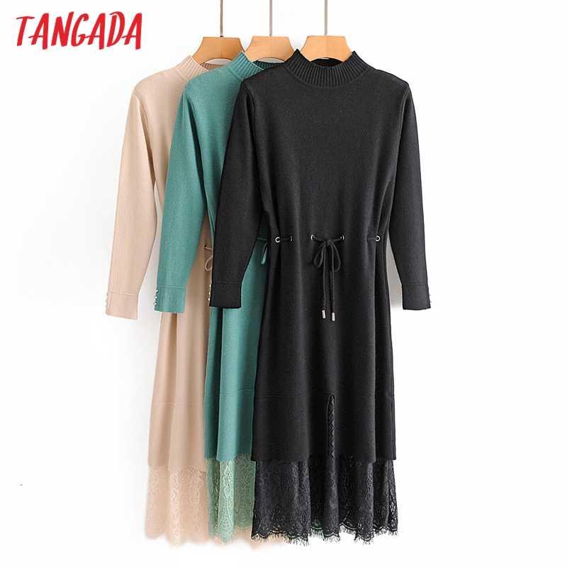 Tangada Fashion Vrouwen Solid Lace Pathwork Trui Jurk Lange Mouwen Met Riem Dames Werk Midi Jurk Vestidos 3A53