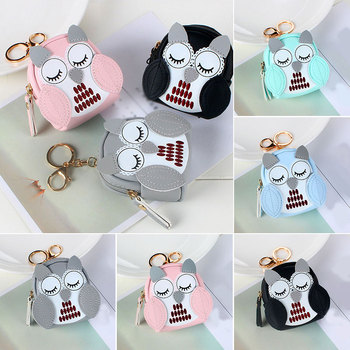 Cute Owl Small Bag Women PU Leather Coin Purses Fashion Jelly Handbag Girls Card Holder For Kids Keychain Zipper