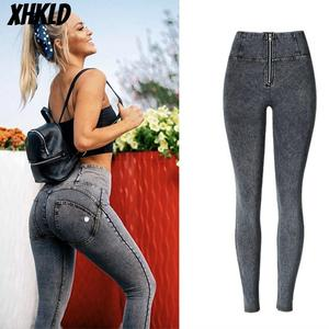 Image 1 - Sexy high waist jeans Woman Peach Push Up Hip Skinny Denim elasticity Pant For plus size women jeans black grey navy blue