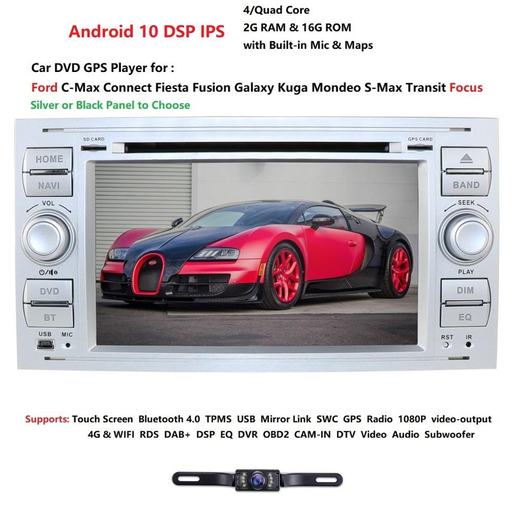 Android 10 2 din Auto Radio GPS DVD Für Ford Focus 2 Ford Fiesta Mondeo 4 C-Max S-Max Fusion Transit Kuga Multimedia Navigation