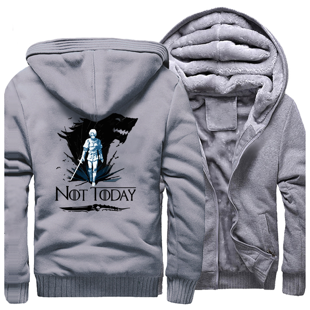 Arya Winter Men Thick Warm Fleece Jacket Stark Coat Game Of Thrones Coats Hoodie Not Today House Stark Zipper Sweatshirt Winter