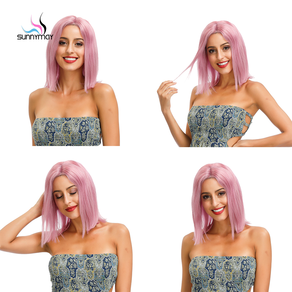 Sunnymay 13x4 Colored Lace Front Human Hair Wigs Short Bob Wig Remy Hiar Light Grey/Blue/Pink/Purple Straight Lace Front Wig