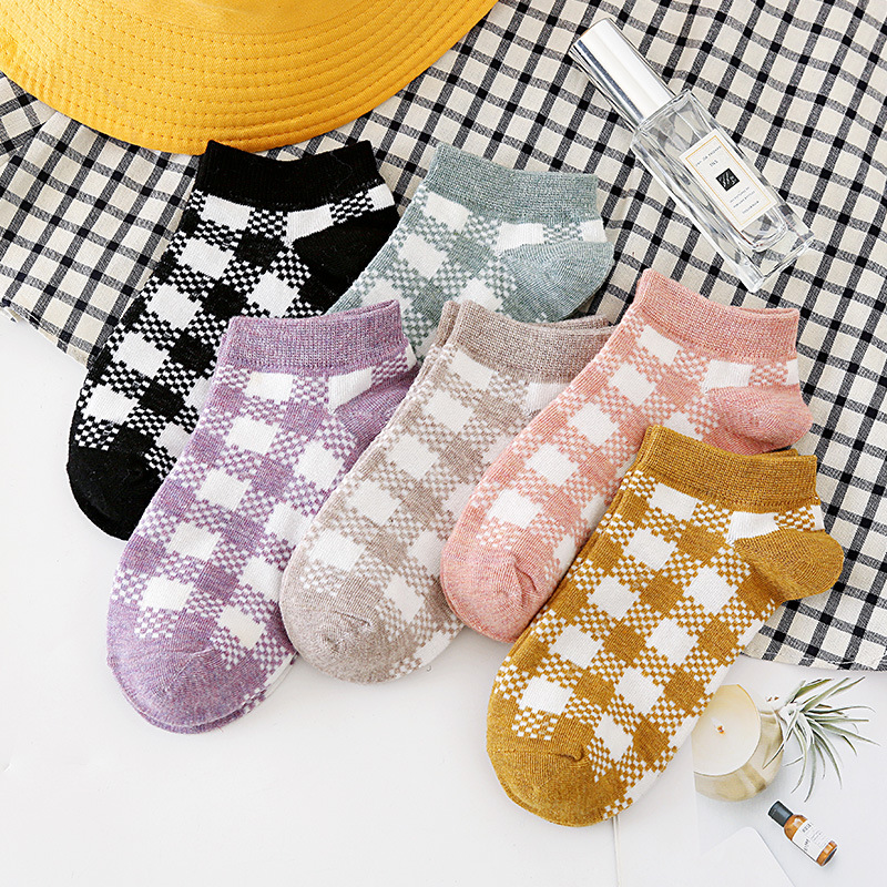 Spring Summer Comfortable Invisible Korean Plaid Boat Socks Woman Cotton Woman Girl Boy Slipper Casual Hosiery