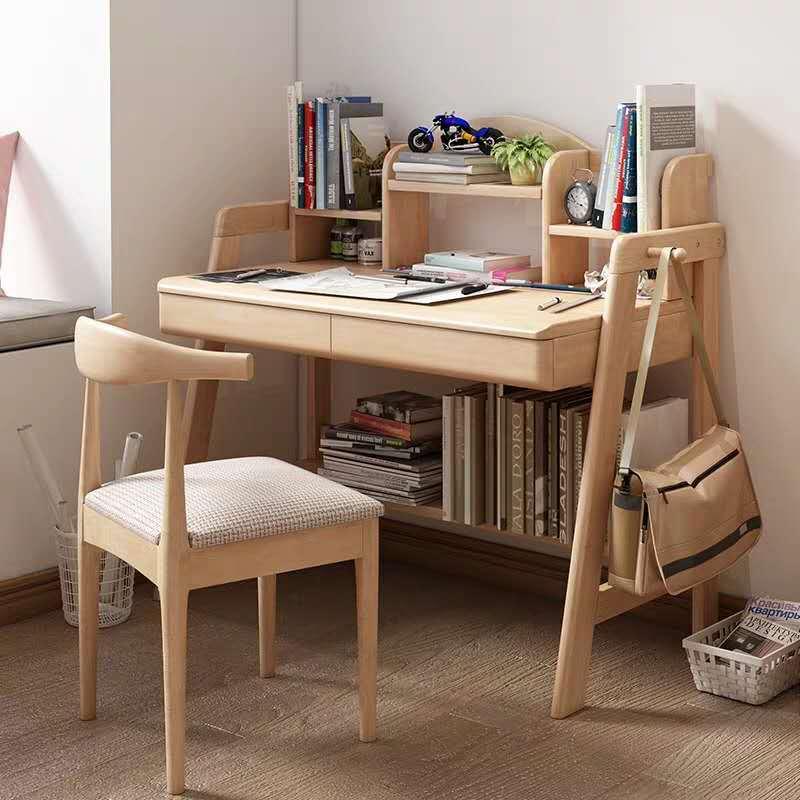 Northern European-Style Solid Wood Desk Simple Japanese Style Office Desk Children Students Writing Desk Desktop Computer Desk H