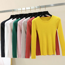 O-neck Long Sleeve Slim Sweater Women Casual Solid Warm Bottoming Tops Korean Female Fashion Comfortable Wild Pullover Tops New(China)