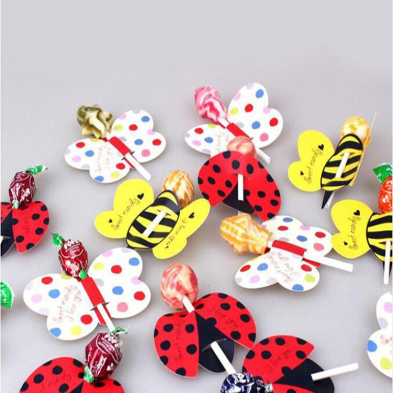 50pcs Candy Lollipop Decoration Gift Animal Insect Bees Ladybug Butterfly Card Lollipop Seat Birthday Party Kids Christmas