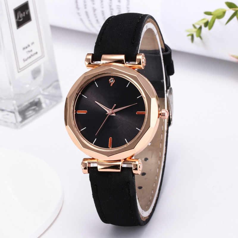 1pc reloj de pulsera de lujo de moda para mujer, reloj de pulsera de cuero para mujer, reloj de pulsera de cristal de cuarzo analógico