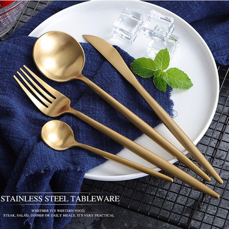 Hot Sale 24pcs Black Christmas Cutlery Set Wedding Dinnerware Forks Spoons Knives Scoop Set 304 Stainless Steel Silverware Set 4