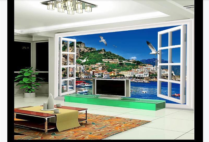 3D Printing Wallpaper Window Design Wall Murals Living Room Bedroom Seascape Waterproof Wallpaper For Bathroom