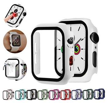 Funda para reloj Apple Watch, parachoques de 40 44 38 42 MM con película protectora de vidrio templado para iwatch Series 5 4 3 2, accesorios