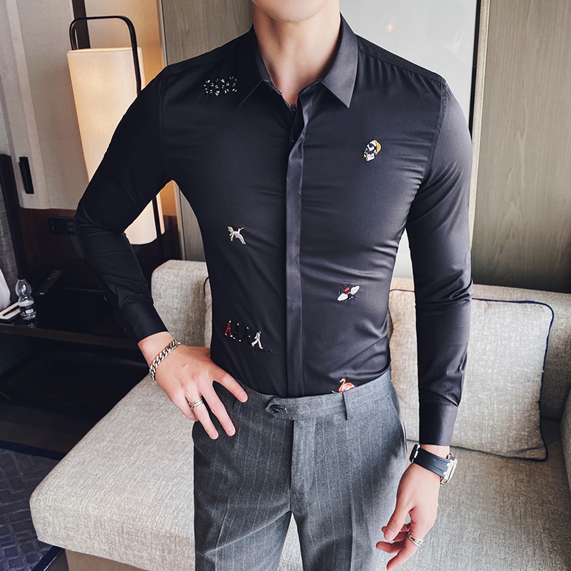 High Quality Embroidered Shirt Casual Slim Fit Long Sleeve Dress Shirts Mens Formal Business Chemise Homme Camisa Masculina