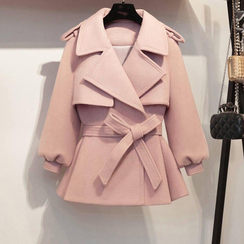 2019 New Autumn Winter Coat Women Woolen Short Jacket Female Vintage Slim Jackets Belt Pink Coats Casaco Feminino