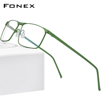 FONEX Pure Titanium Glasses Frame Men Square Eyewear 2020 New Male Full Prescription Optical Myopia Korean Eyeglasses Frame 8550 acetate glasses frame men square prescription eyeglasses new women male nerd myopia optical clear spectacles eyewear fonex