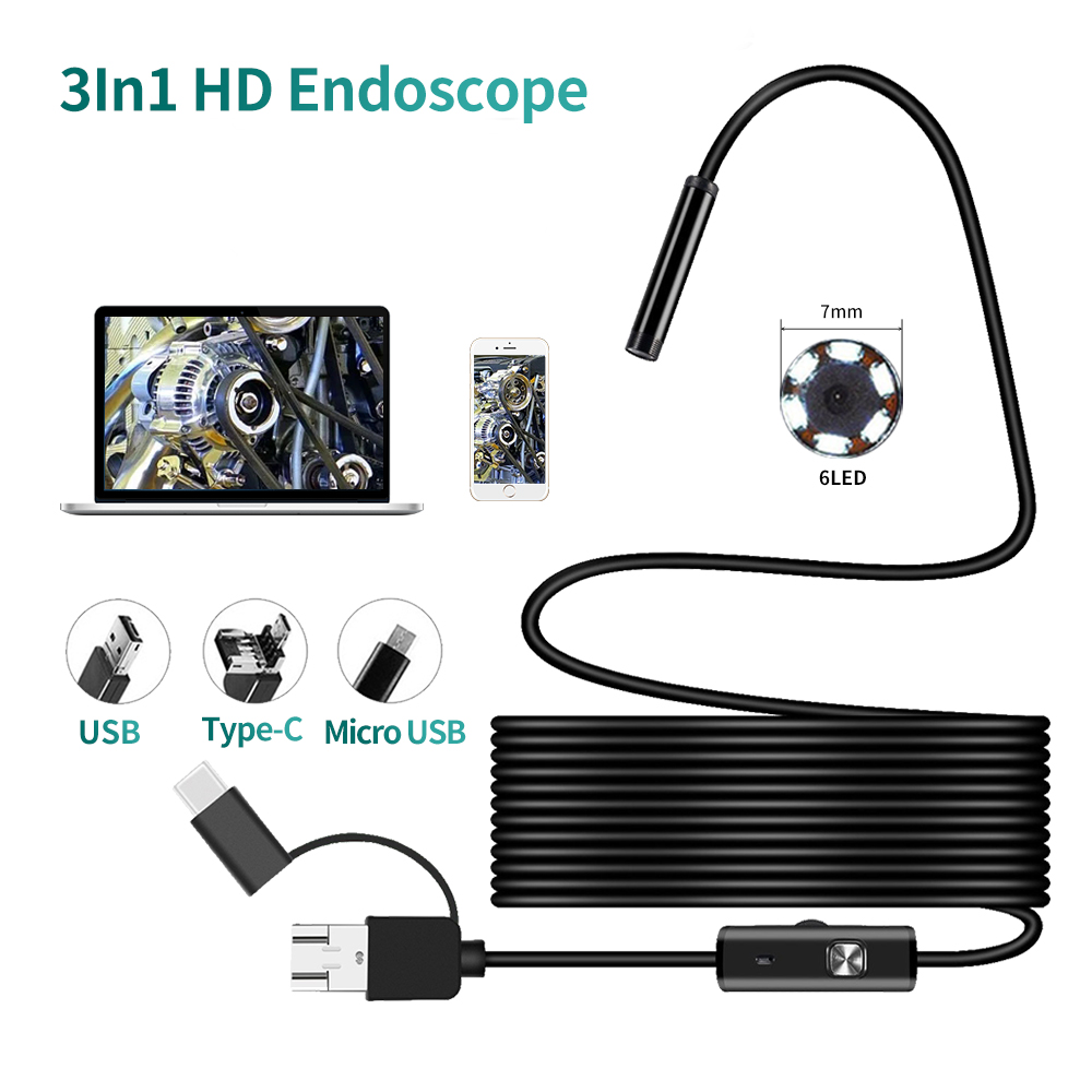 Dodosee 7mm Lens USB Endoscope Camera Waterproof Flexible Wire Snake Tube Inspection Borescope For OTG Compatible Android Phones