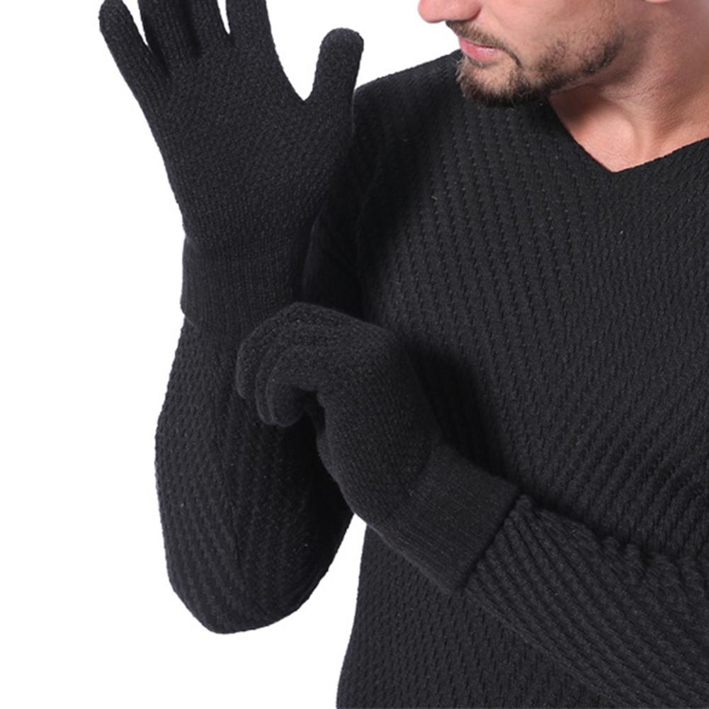 Men Thicken Winter Knitted Woolen Gloves Warm Full Finger Touch Screen Mittens Outdoor Windproof Grove Clothing Decor Accessory