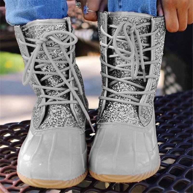 Botas de mujer botas de pato con cremallera impermeable suela de goma Botas de lluvia botas de encaje hasta el tobillo zapatos de piel de invierno para mujer