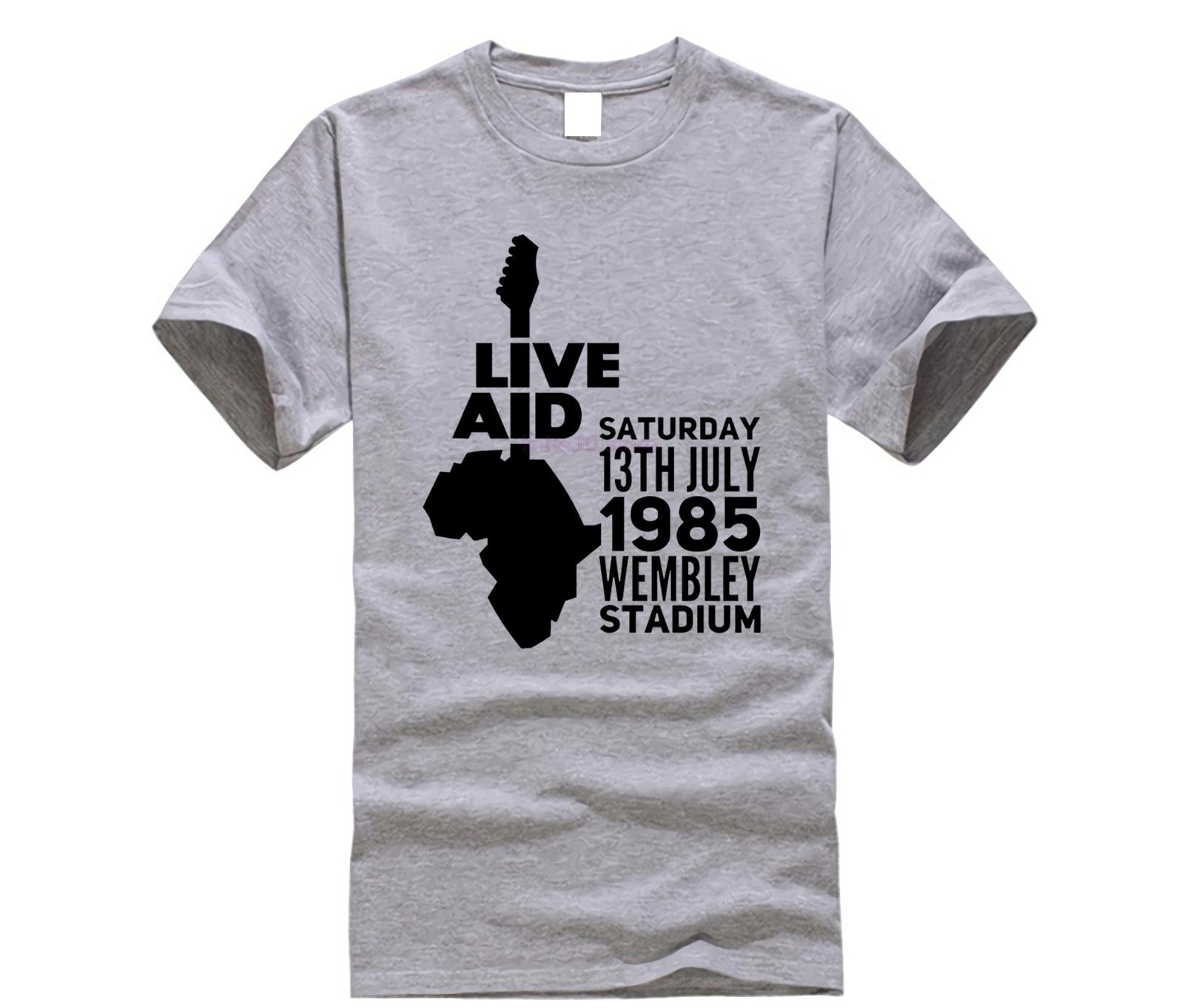HOT RARE Freddie Mercury Queen Live Aid 1985 Bohemian Rhapsody T Shirt  S-5XL