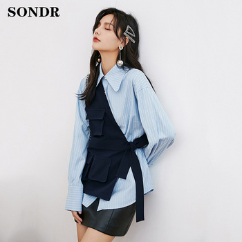 2020 Spring Autumn New Lapel Long Sleeve Loose Fit Shirt Fashion Big Size Women Blue Striped Irregular Splicing Blouse Tide loose fit linen button split joint big size jacket new lapel long sleeve women coat fashion tide spring 2020 1x5010