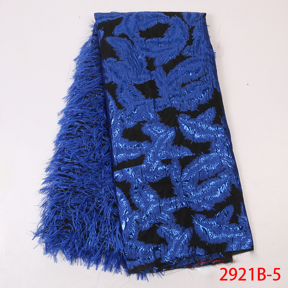 Royal Blue Jacquard Lace Fabric Nigerian Tissu Lace for Sewing Clothes Good Quality African Brocade Lace with Feather APW2921B-in Lace from Home & Garden