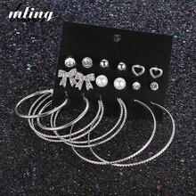 20 Pair/ kit Vintage Beauty Crystal Pearls Heart Bow Stud Earrings Set Women Wings Star Alloy Earring Jewelry Gifts цена 2017