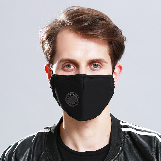 1 Mask+10 PCS Filter Fashion Washable Reusable Mask  PM2.5 Mouth Respirator Masks Cotton Unisex Mouth Muffle Black 1