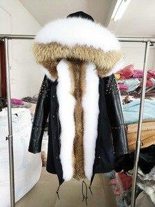 Image 3 - OFTBUY ארוך אמיתי Parka פרווה מעיל חורף מעיל נשים טבעי כבש עור מסמרת שרוולים ארנב רירית הלבשה עליונה Streetwear