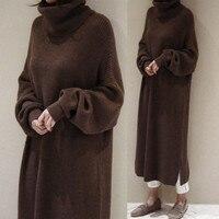 Women Autumn Winter Long Thicken Turtleneck Sweater Dress Straight Maxi Vestidos Robe Pull Femme Sukienki Casual Jurken